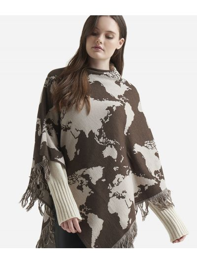 Geo Pieno Poncho Map printBrown