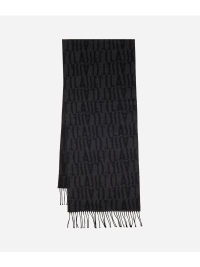Wool Scarf with Logos40 x 190 Grey