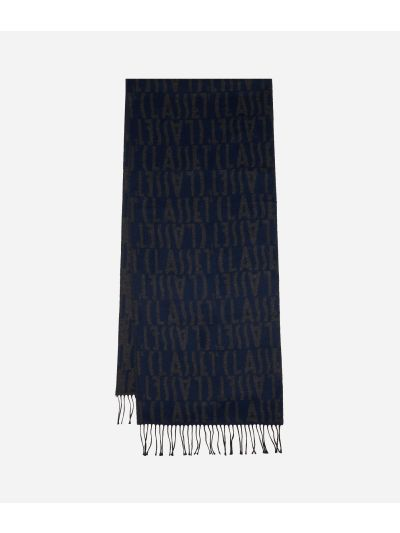 Wool Scarf with Logos40 x 190 Blue