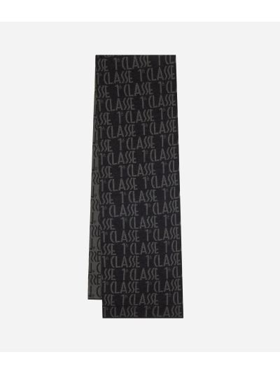 Scarf with all-over logo25 x 170 Grey