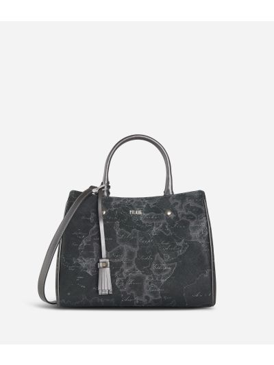 Geo Silver Night Medium Handbag Black