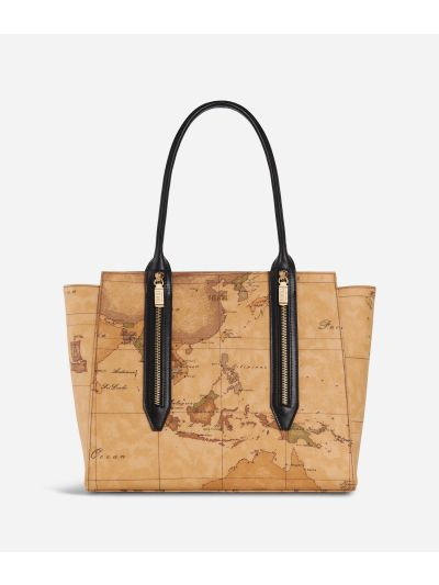 Autumn Geo Shopping Bag Black