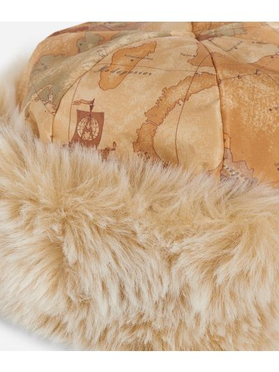 Geo Classic print eco-fur nylon hat Natural Tan
