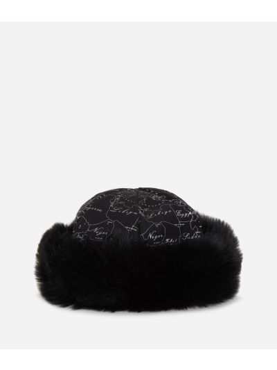Geo Filetto print eco-fur suede hat Black