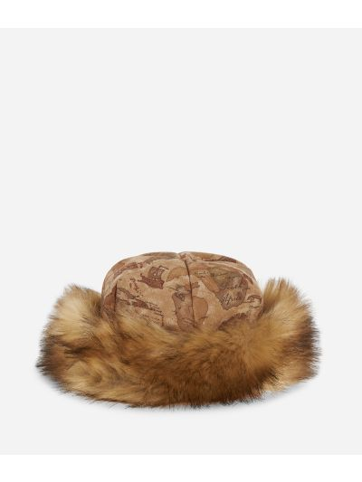 Geo Classic print eco-fur nabuk hat Natural Tan