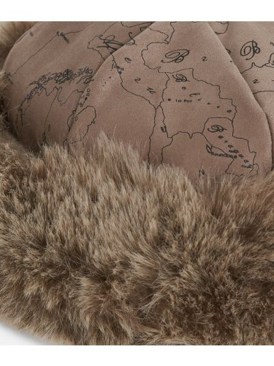 Geo Filetto print eco-fur suede hat Mud