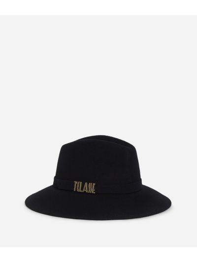 Casual felt hat with lettering logo Black