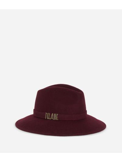 Cappello Casual in feltro con logo Bordeaux