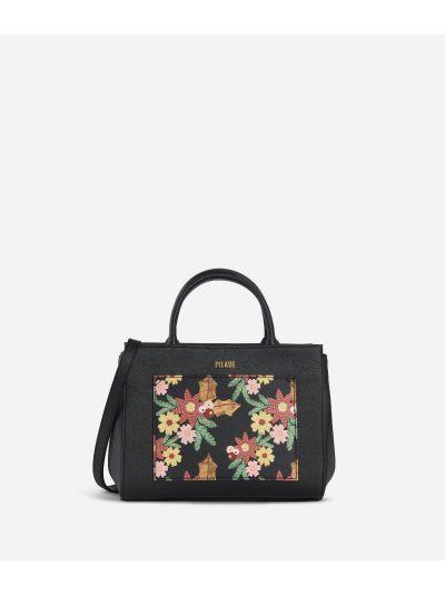 Christmas Flower Small Handbag Black