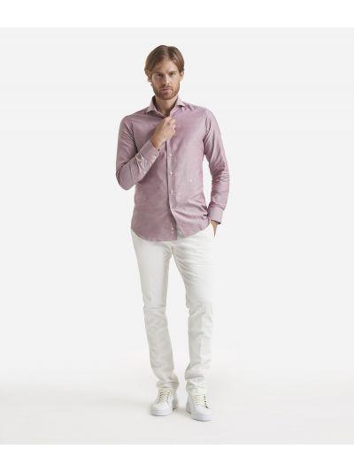Slim fit shirt in pure cotton Bordeaux