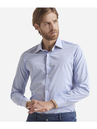 Slim fit cotton shirt Light Blue