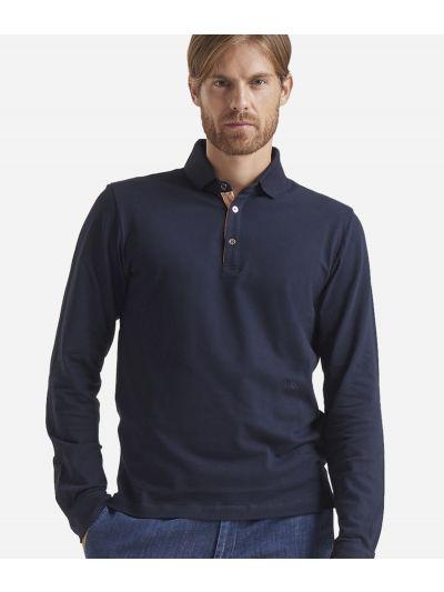 Long sleeves cotton polo Blue