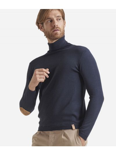 Wool blend turtleneck with Geo Classic print patches Blue