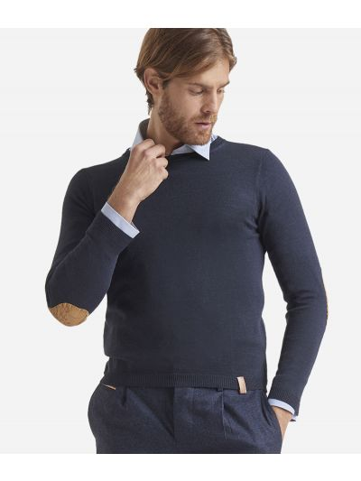 Crewneck wool sweater with Geo Classic patches Blue