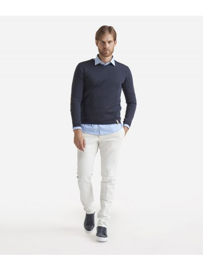 V-neck wool sweater with Geo Classic patches Blue