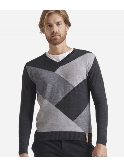 V-neck wool blend sweater Grey