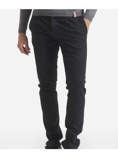 1- pince slim cotton trousers Black