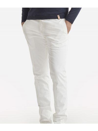 Super slim cotton trousers White