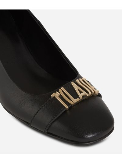 Suede leather pumps with maxi logo Black