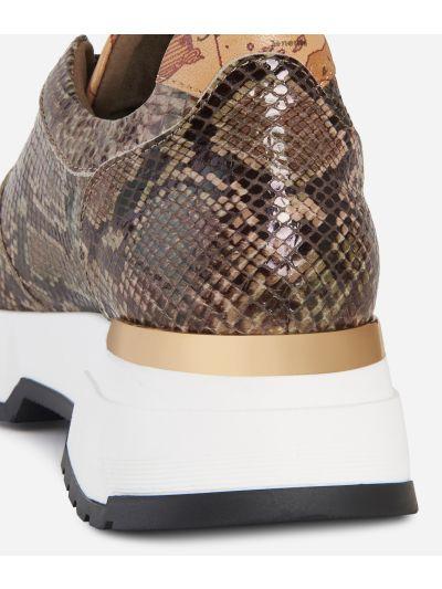 Eco-python leather sneakers Cream