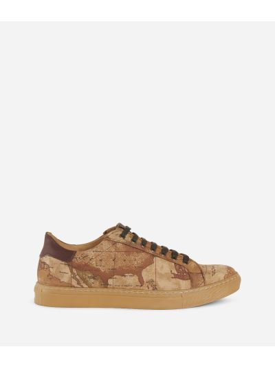 Geo Classic print nabuk running sneakers Natural Tan