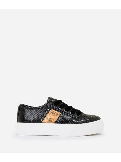 Eco-python leather sneakers with studs Black