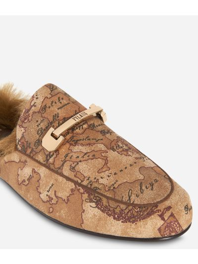 Geo Classic print loafers with eco-fur Bronze