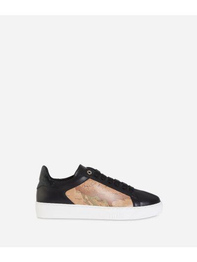 Geo Classic print and leather sneakers Black