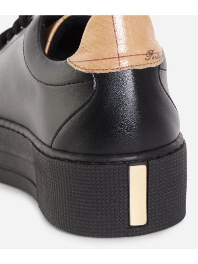 Eco-leather platform sneakers Black