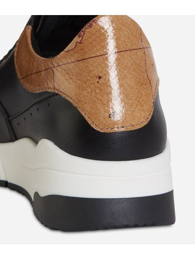 Sneakers fondo running in ecopelle Nera