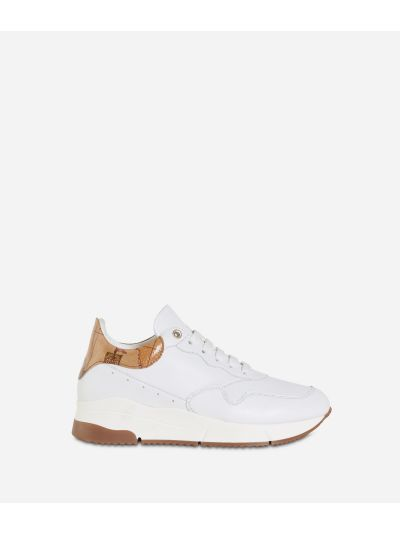 Eco-leather running sneakers White