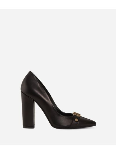 Leather pumps with maxi logo Black