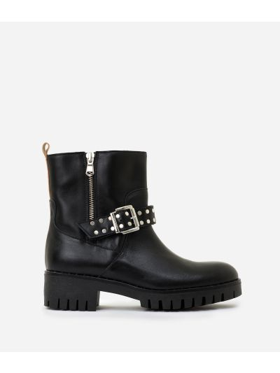 Leather bikers with studs and buckle Black