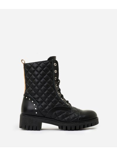 Matelassè eco-leather combat boots Black