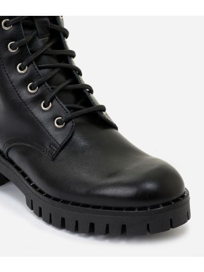 Leather combat boots with Geo Classic details Black