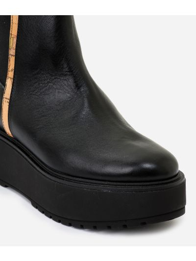 Leather beatles with wedge Black