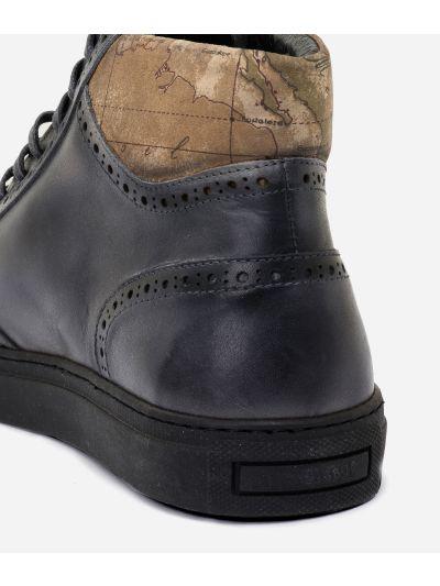 Sneakers alte in pelle sfumata Grigio Scuro