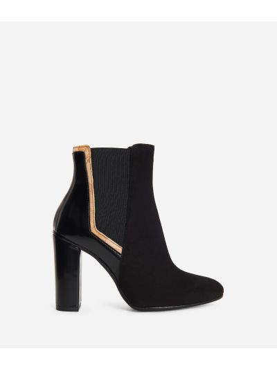 Leather and suede ankle boots Black
