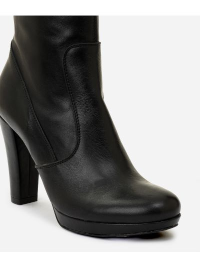 Leather high heel boots Black