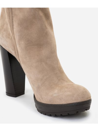 Suede leather high heel ankle boots Nude