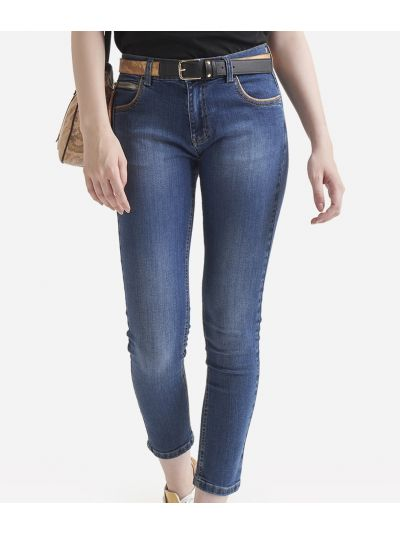 Cotton denim pants with zip Black