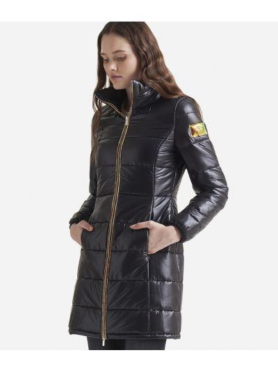 Nylon padded long coat Black