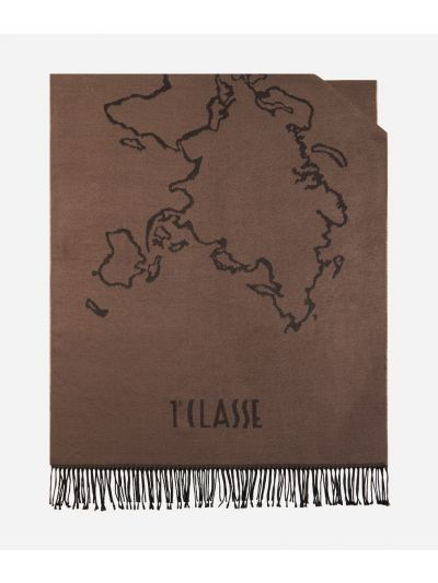 Geo Filetto World Map Scarf 75 x 200 Toupe