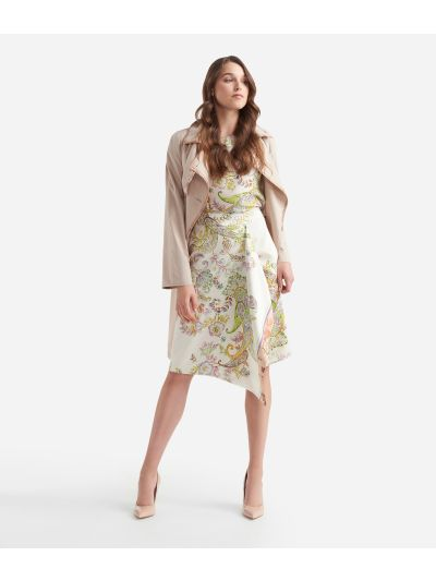 Sarong skirt in twill with Paisley print White