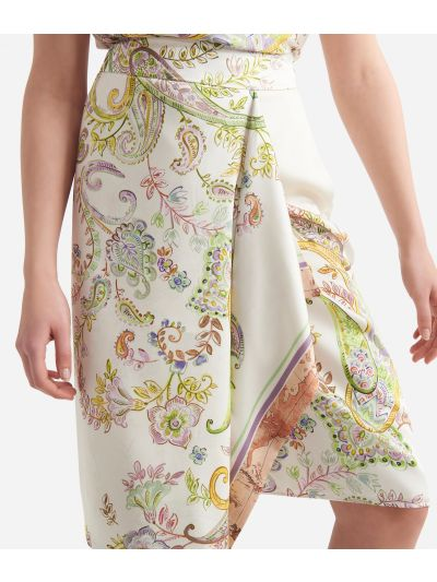 Gonna sarong in twill stampa Paisley Bianco