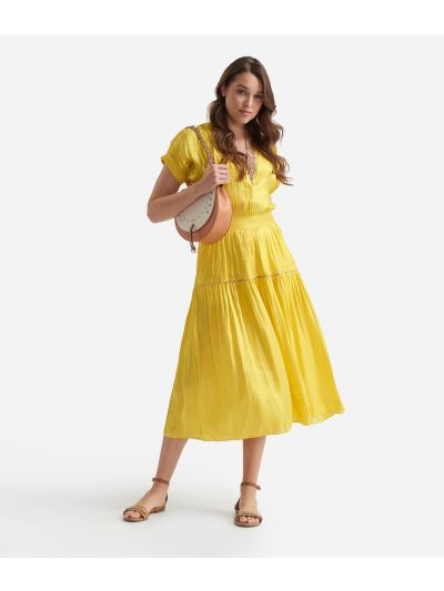Flounce skirt in smooth iridescent fabric Yellow