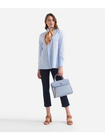 Camicia ampia in righe bastonetto stretch Bianca e Azzurra