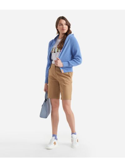 Hooded cardigan in cotton Light Blue