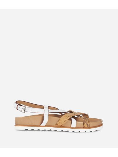 Donnavventura Flat sandals in leather and Geo Classic fabric White