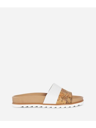 Donnavventura Sliders in leather and Geo Classic fabric White